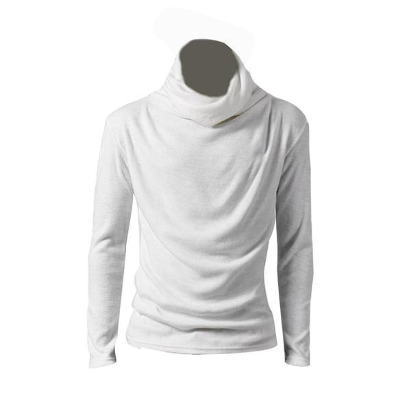 490d8dba53b721 Men Autumn Winter Casual Solid Color Cowl Neck Long Sleeve T-Shirt Slim Fit  Top