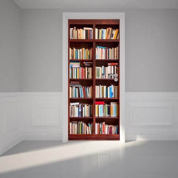 Free shipping DIY Door Sticker Bookshelf Bookcase door decals decorations for Bedroom Living Room wallpapers Decal home accessories