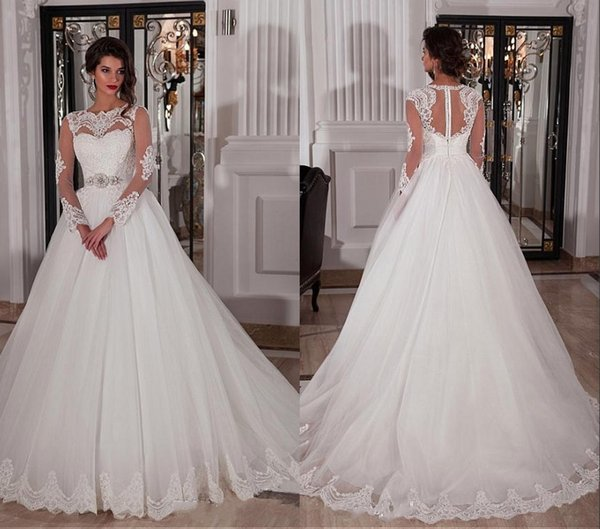 A-Line Long Sleeves Wedding Dresses Ivory Dubai African White Bridal Gowns With Jewel Neck Covered Button Crystal Belt Sweep Train Gowns