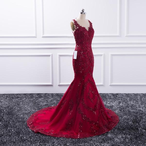 Sexy vestido de noche largo 2019 Sheer O-cuello Prom vestido de sirena vestidos de fiesta vestido de fiesta rojo de lentejuelas formal Robe de velada
