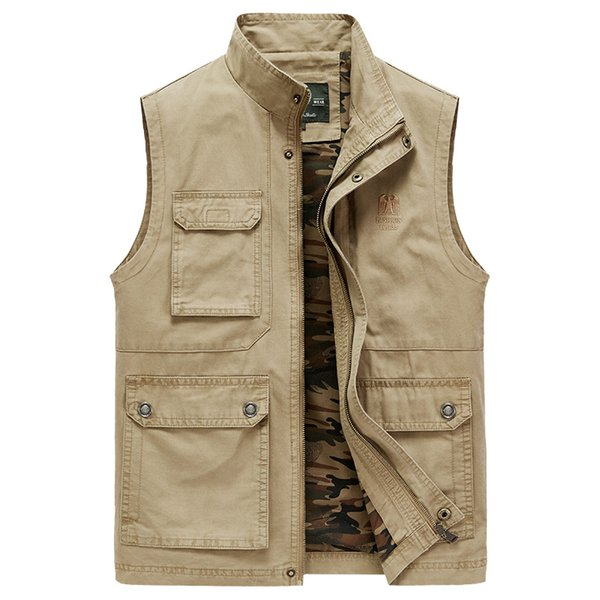 Middle-aged Autumn Spring men vest khaki black army men's vests with pockets camouflage sleeveless jacket plus size 4XL