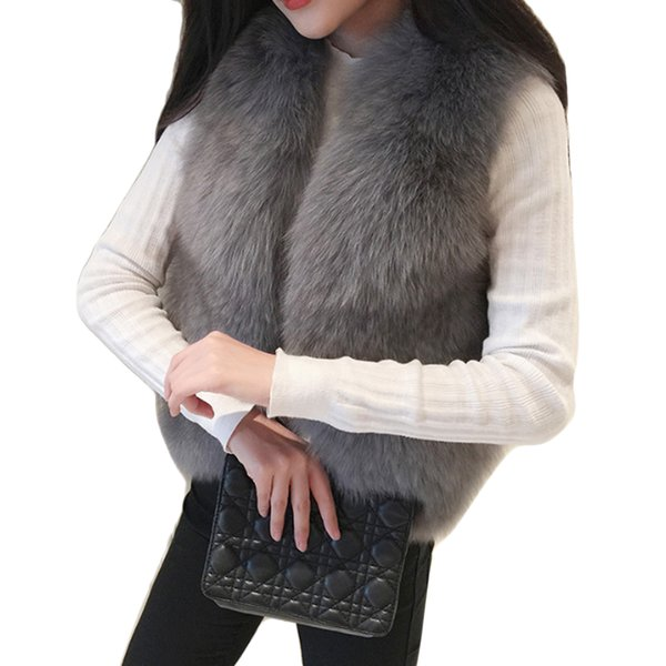 Elegant Winter Thick Warm Coat Women Waistcoat Faux Fox Fur Vest Sleeveless Jackets Fake Fur Coats Plus Size Female Vests 2018
