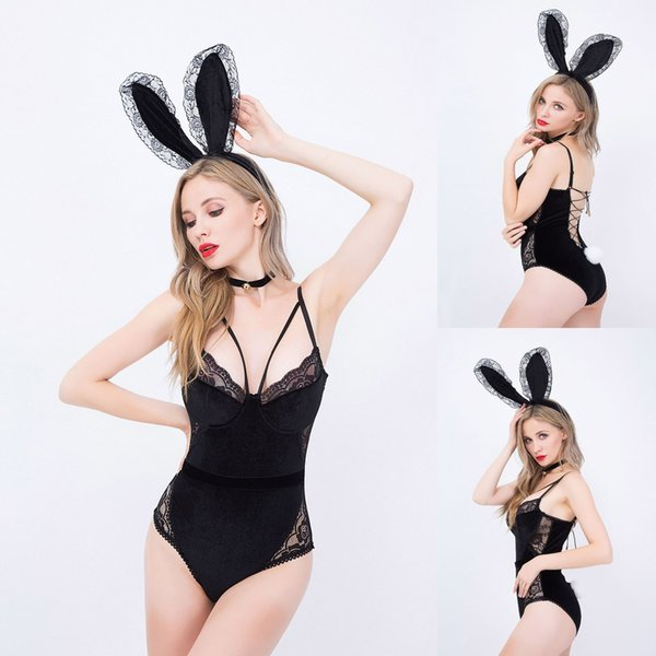 Bunny Girl Cosplay Sexy Underwear New Uniform Suit Cosplay Tight-fitting Party Party Role-playing with Onesies Rabbit Ears Hanging Neck Ring