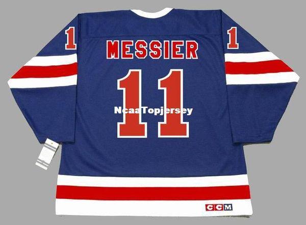 Personalizado Mens Jerseys # 11 MARCA MESSIER New York Rangers 1991 CCM Vintage Barato Retro Hockey Jersey