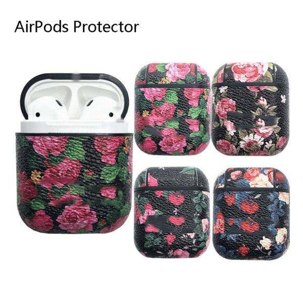 Full Protective Leather case for Airpod Wireless Earphone Anti-drop Holster Pouch Rose Printed Letter Storage Cover with Carabiner