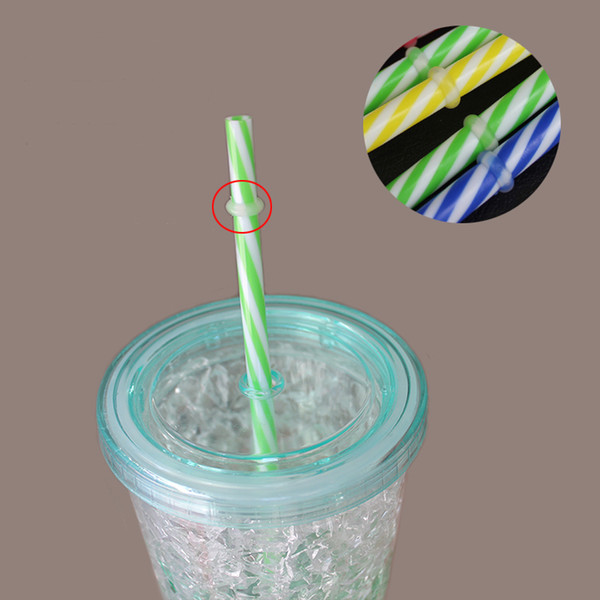 23*0.7cm Colorful transparant eco-friendly hard plastic straws 2 colors thread party creative straw pipes for drinking juice wholesale