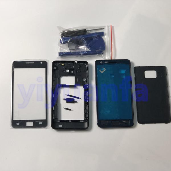 Полный корпус Корпус Средняя рамка + Задняя крышка + Стеклянные линзы Запасные части для Samsung Galaxy S2