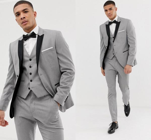Custom Made Grau Herren Anzüge Schwarz Revers Slim Fit Hochzeitsanzüge für Bräutigam / Groomsmen Prom Casual Suits (Jacke + Pants + Weste + Fliege)