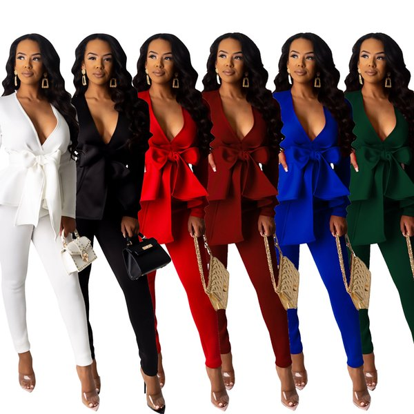 Fashion Office Lady Two-piece Outfits Bow Design Long Sleeves V Neck Top Blouse Ruffles Long Pants Elegant Women Party Pants Suits