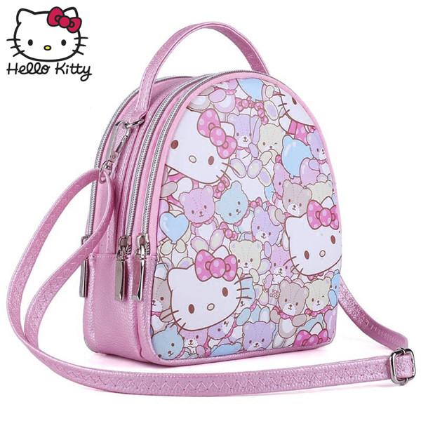Hello Kitty Sevimli Karikatür Çanta hellokitty Moda Kadınlar 2019 Yeni Stil Kız Deri Sevimli Karikatür Pembe Çocuklar SchoolBag Peluş hediye