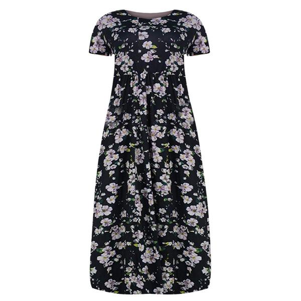 Women Dress Summer Bohemian Women Plus Size Short Sleeve Printing Dress O-Neck Long With Pockets Sundress Casual