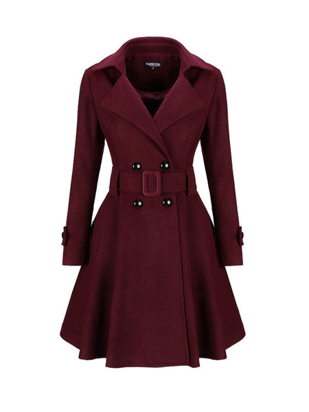 abrigos mujer invierno 2019 Classical Lapel Double Breasted Plain Swing Woolen Coats