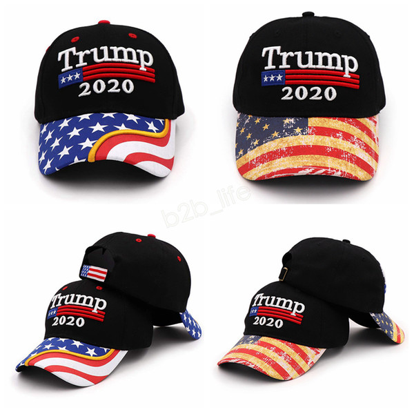 Donald Trump 2020 gorra de béisbol bordada Make America Great Again hat Star striped USA Flag carta exterior gorra deportiva LJJA2909