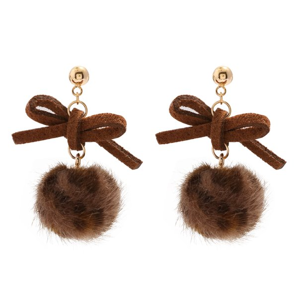 925 Silver Butterfly-knotted Hair Ball Earrings Lovely Autumn and Winter Leopard-print Earhook Female Molandi