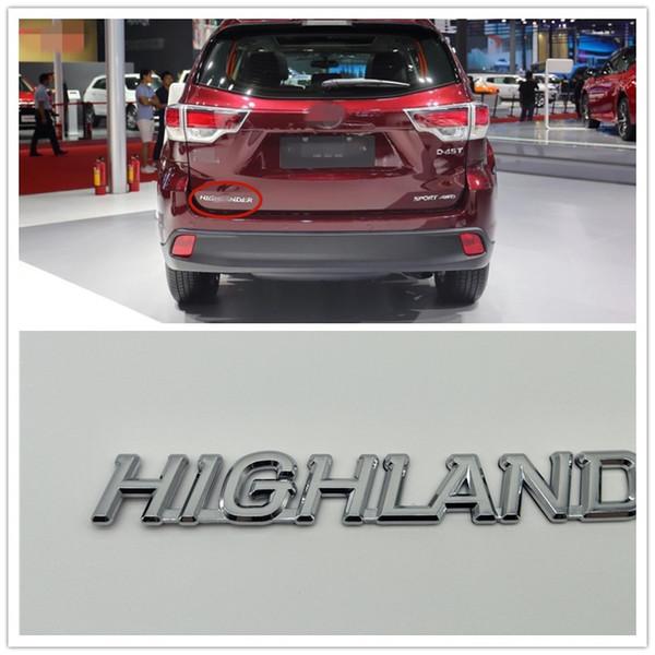 Para Toyota Highlander Emblem Insignia del maletero trasero Logotipo Placa de identificación Car Styling
