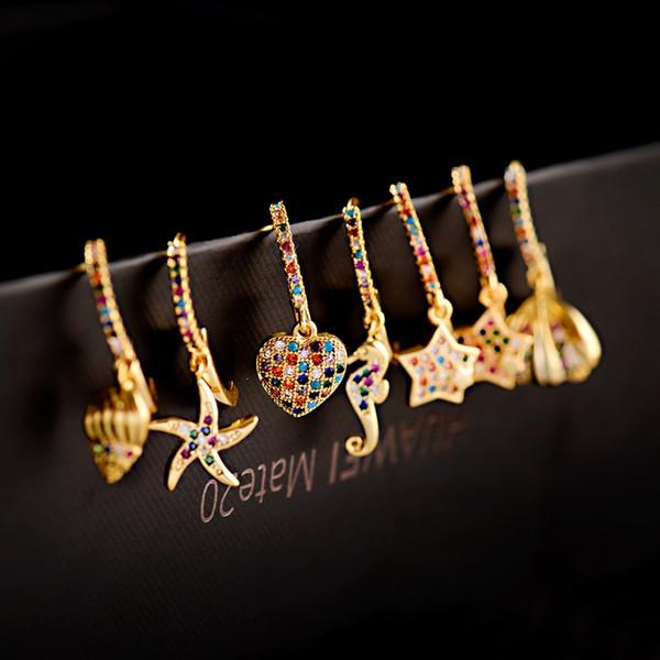 1 paire de luxe classique Femmes d'or Marine Shell oreille mignon anneau Corful CZ Boucles d'oreilles de mariage Seahorse étoiles