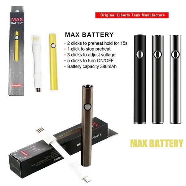Amigo MAX Vape Kalem Pil 510 Konu Piller 380mAh 2.7V-3.1v-3.6V Gerilimi Ayarlanabilir Yüksek Kaliteli Kartuş Ön ısıtma Pil