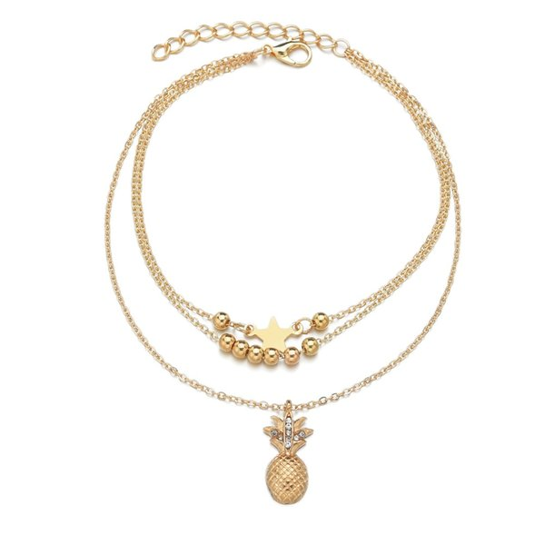 Pineapple Star Anklets Simple Girls Anklet Sea Turtle Anklet Multilayer Charm Beads Ocean Handmade Bohemian Anklet Ms. Footwear Four styles