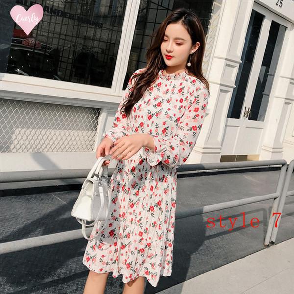 Dos capas del vestido floral de gasa elástica de la cintura de las mujeres de la primavera Una formación de la llamarada de la manga del vestido bohemio Femme encaje 2019