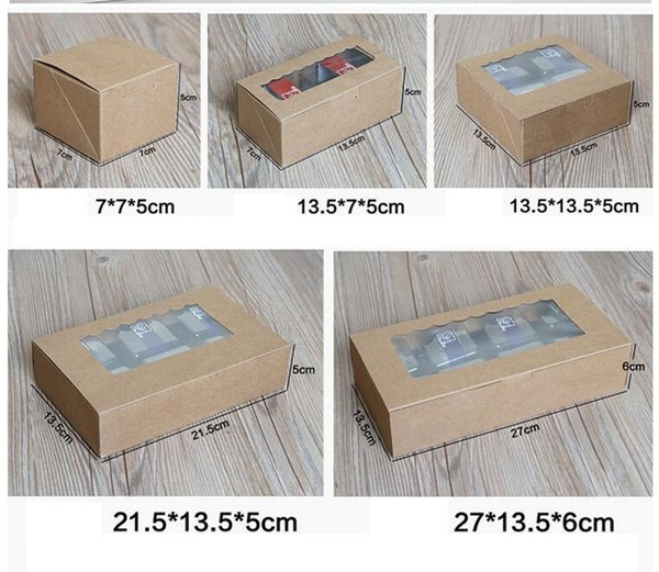 Top Sale Kraft Paper Cake Box with PVC window Cupcake Packaging Box Candy Biscuit Paper Carton Cardboard Gift 20pcs