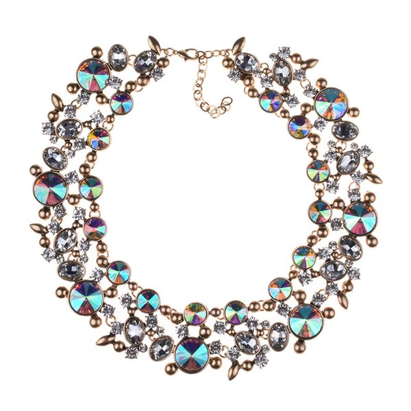 New Vintage Statement Luxury Gem Full Rhinestone Collar Choker Necklace for Women Fashion Jewelry Banquet Accessories Collier