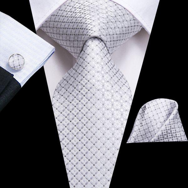 Salut-Cravate Nouveau Designer Marque Cravate Pour Hommes À Carreaux Jacquard Tissé Cravate En Soie Poche Carré Boutons De Manchette Set De Mariage N-3115