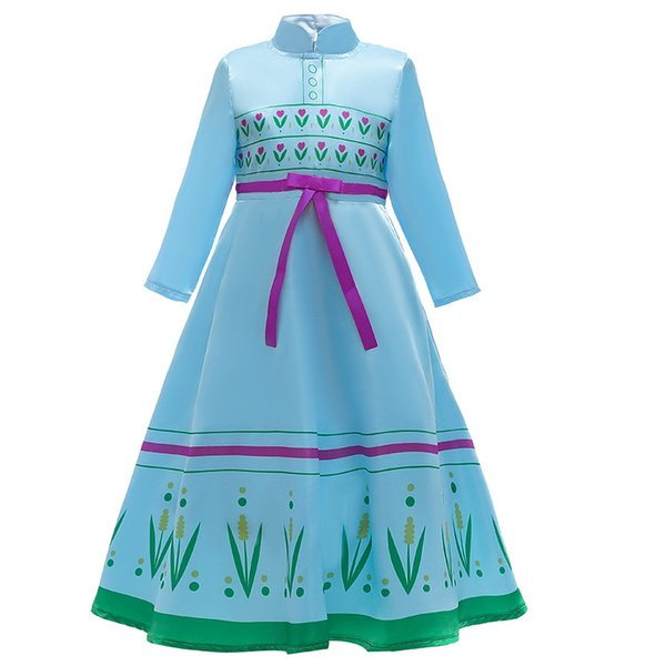 best selling Girls Princess Dress with Bow Girdle Girls Snow queen 2 Princess dress Costume Children Cartoon movie long sleeves Christmas dress