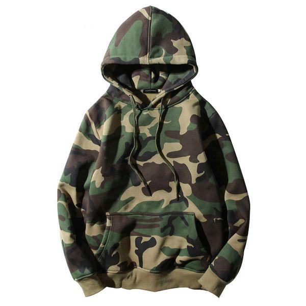 Fashion-Army Green Camouflage Hoodies Winter Herren Fleece Pullover Mit Kapuze Sweatshirts Hip Hop Swag Baumwolle Streetwear S-2XL