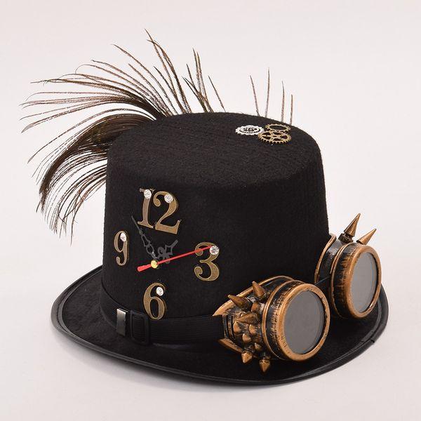3f1ce86c1301e Hats Caps Fedoras Black Punk Fedora Hat Unisex Man Woman Glasses Gear Clock  Halloween Party Top Hat