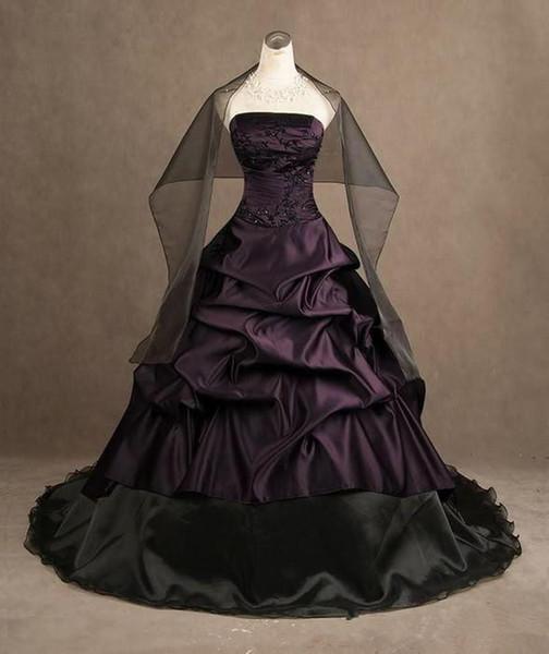 2020 Style gothique pourpre et robes de mariée noire sans bretelles en taffetas robe de bal Longueur étage dentelle de mariée Robe De Noiva en mesure Made