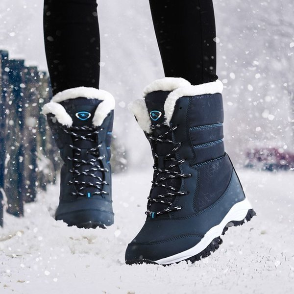 Women boots non-slip waterproof winter ankle snow boots women platform winter shoes with thick fur botas mujer488