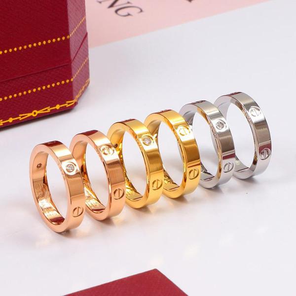 Diamond anillo superior de la manera Marca anillos Pareja Eterna de lujo de diseño moderno joyería de los anillos de titanio acero regalo Oferta Especial