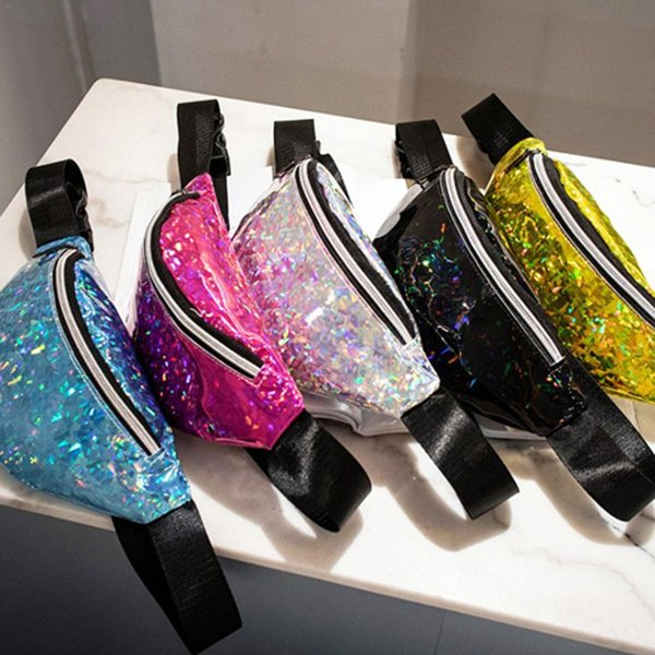 Nuovo marsupio in paillettes multicolore Borsa casual alla moda in PVC per lo sport in esecuzione Fitness Escursionismo Mountain Travel per uomini e donne