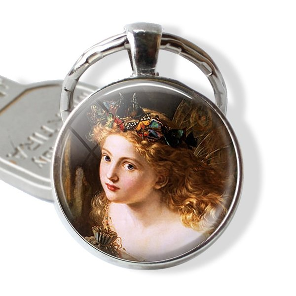Sophie G. Anderson's \The Fairy Queen\- Butterfly Crown - Glass Dome Pendant Plated Silver Keyring