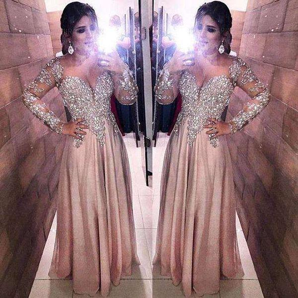 2019 Plus Size Blush Rosa Cetim Vestidos Formais do baile de finalistas com Laço de Prata Longo Mangas Longa Mãe do Pavimento Da Noite de Noiva Vestidos
