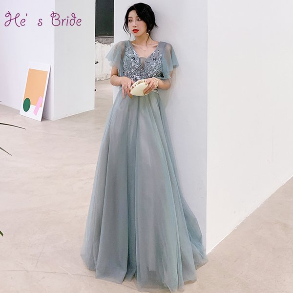 He's Bride New Fairy Prom Dress Sexy V-neck Short Sleeves Appliques Lace Up Floor-length Prom Formal Grown Robe De Soiree