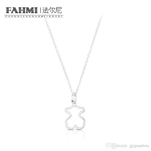 FAHMI 100% 925 Sterling Silver Lucky Eternal Charming Bear Pendant Decorative Necklace 614784500 Original Jewelry Gift