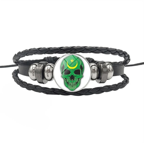 Silver Mauritania National Flag Time Gem Glass Cabochon Skull Series Button Bracelets Charm Fashion Cowhide Leather Rope Beaded Jewelry Gift