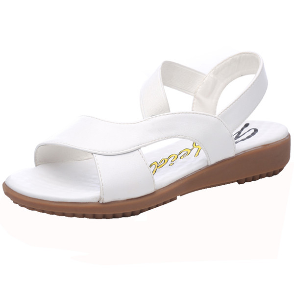 New Summer Sandals, Women Flat-soled Shoes, White Nurse Shoes, Soft-soled Anti-skid Large Size Mother's Shoes for Pregnant Women