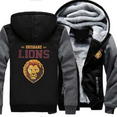 2019 sudadera con capucha de invierno Brisbane Lions Hombres mujeres Sudaderas con capucha gruesas del otoño sudaderas con cremallera chaqueta con capucha de lana suéter streetwear