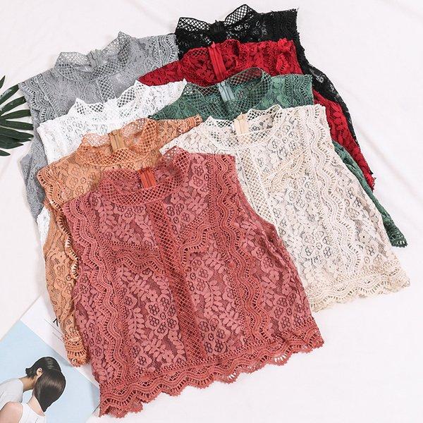 Été Femmes Mode Crochet Dentelle Débardeur Gilet Dames Sexy Creux Out Dentelle Floral Droite Droite Stand Col Collier Crop Top MX190724