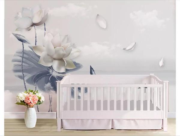 Papiers peints personnalisés 3D home decor photo papier peint paysage lotus zen encre chinoise chambre TV fond papier peint pour murs 3d