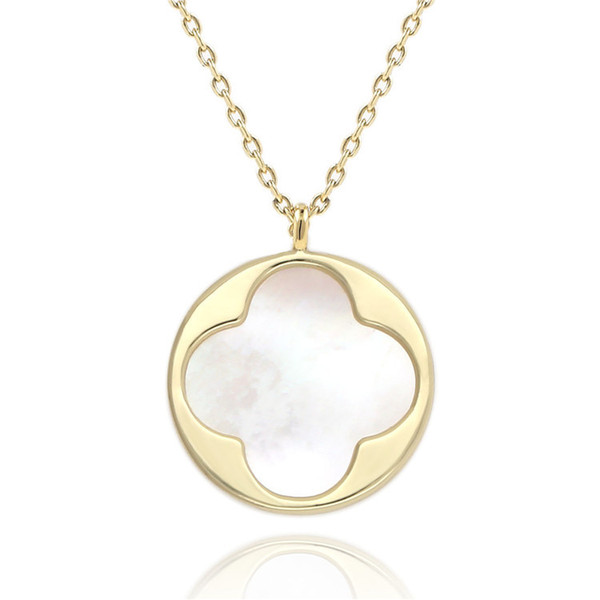 Four-leaf Clover Pendant Natural White Abalone Shell Necklace 14k Gold Plated Necklaces Elegant Gold White Shell Sweater Chain in Stock