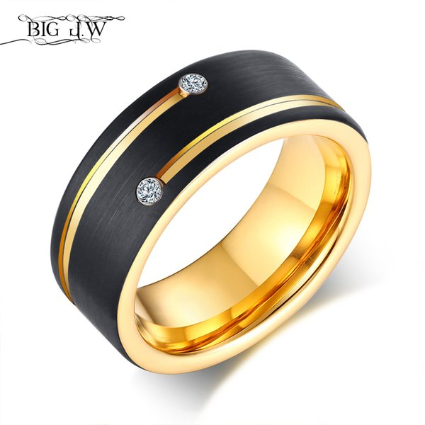 BIG J.W Black Tungsten Ring for Men Gold Tone Line with Cubic Zirconia Stones Wedding Band Punk Finger Engagement Ring