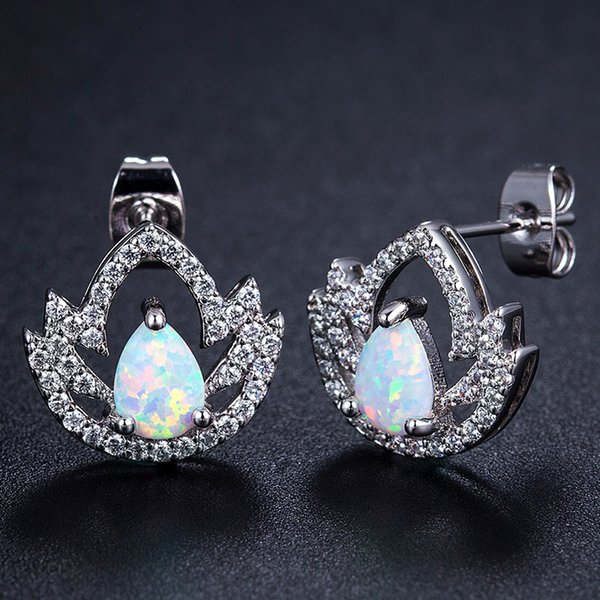 Zarif kadın 925 Ayar Gümüş Beyaz Yangın Opal Elmas Küpe Glamour Gelin Düğün Saplama Küpe sevgililer Günü Hediyesi