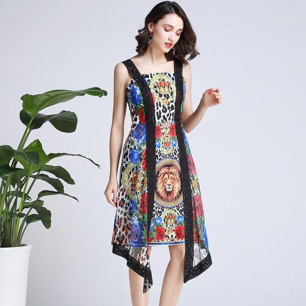 Sexy Leopard Lace Sling Dress Backless Lion Head Rose Crown Print Stitching Irregular Gauze Dress