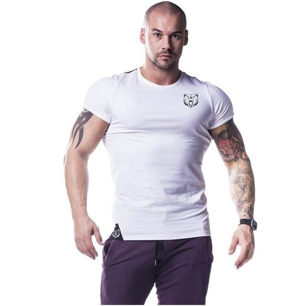 Undershirt Vest Top Men Summer White Short Sleeve Cotton Breathable Sport Running Fitness Gym Workout Casual Shorts T shirt