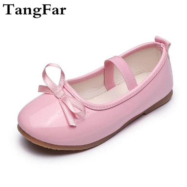 Girls Princess Shoes Patent Leather Bow Red Shoes For Kids Soft Moccasins Fashion Children Flats Mary Jane Size 21-36