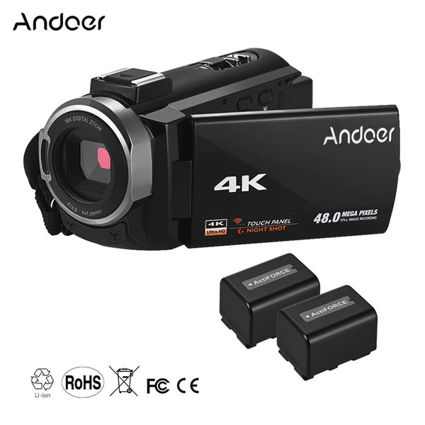 Andoer Portable 4K HD Digital Video Camera Camcorder WiFi Connection IR Night Vision Hot Shoe Mount with 2pcs Batteries