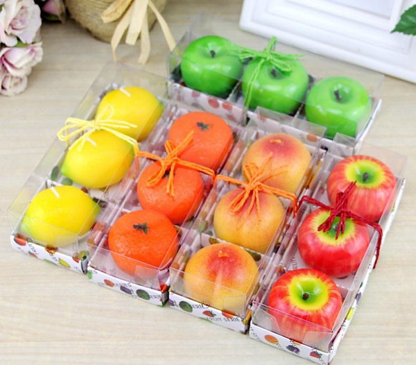 3pcs/lot Fruit Candles Apple Orange Lemon Shaped Scented Birthday Weddings Candles Romantic Party Decoration Christmas New Year Gift SN3456
